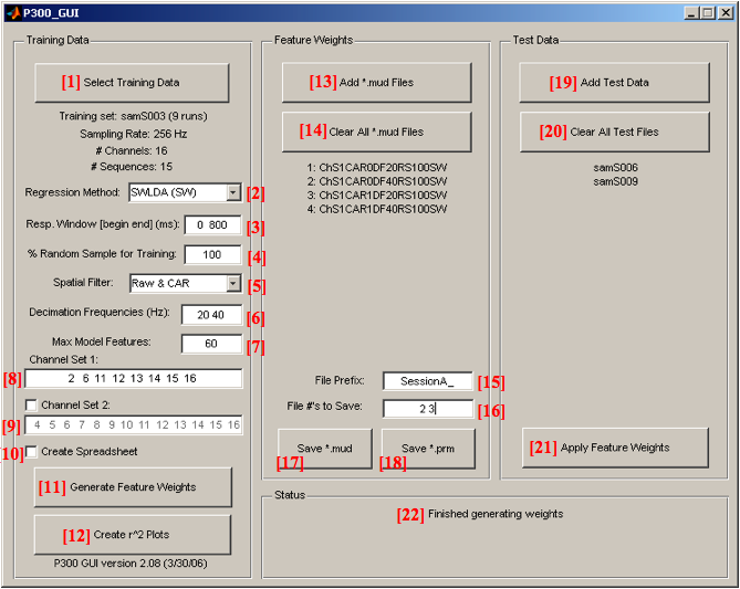 Figure 1: The GUI Control Panel[#'s] correspond to subsequent descriptions of function